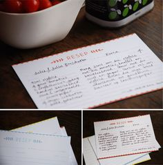Recipe Cards {DIY} | {Wedding DIY} | The Pretty Blog