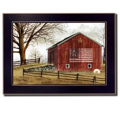 Add a patriotic touch to any home décor with the Flag Barn Wood Pallet Wall Art by Courtside Market. Perfect in the home or office, this striking wall mount design is crafted from wood, and comes ready to hang. Painting Frames, Painting Prints, Wall Art Prints, Barn Paintings, Tole Painting, Red Barn Painting, Primitive Painting, Fence Painting, Country Paintings