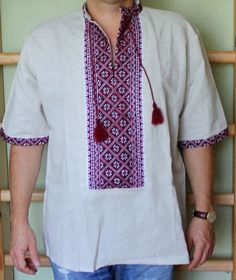 VYSHYVANKA mens Gray 4th of JULY SALE Embroidery Linen SHIRT Short sleeve S-4XL #wooyko #Folk