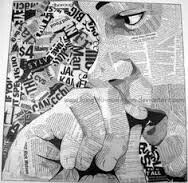 Synthetic Cubism collage newspaper words.