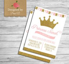Princess Birthday Party INVITATION Glitter Sparkle Printable Invite Crown Pink And Gold First