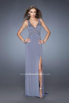 bde8af6239 La Femme 19848 Plunging V Neck Evening Dress