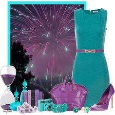 """""""Fireworks 3,"""" by amybwebb on Polyvore -- Not peacock per se, but probably my favorite color combination ever. I love her choices, from the bling to the glass to the books, and minus the heels on those shoes, I'd wear this in a heartbeat."""