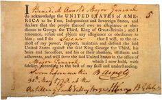Benedict Arnold's loyalty oath, signed when he was one of George Washington's officers in the Continental Army, May 30, 1778.