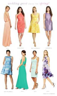Dresses for Wedding Guests for Spring 2015. My picks for spring wedding guest attire for women. Florals, prints, and maxi dresses in pastel colors, find the perfect thing to wear to a spring wedding. @dressforwedding