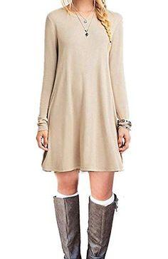 Women's Casual Dress Plain Simple T-shirt Loose Dress