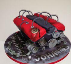 Car engine birthday cake