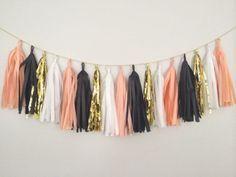 Peach, Gold, White and Black Tassel Garland Banner - Peach Party Decor Banner, Birthday Decoration, Wedding Decor, Halloween & Thanksgiving