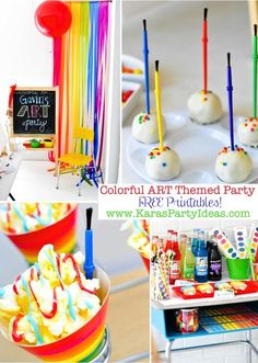 ART themed party with FREE PRINTABLES! Kara's Party Ideas  This is pretty awesome. My only problem is that she had rainbow crayons on the food table, not marked as crayons. The paint is kind of obvious since it's in plastic, but you can make cookies to look like the rainbow crayon. Even adults would grab it.