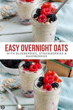 Raspberry Overnight Oats, Overnight Oats With Yogurt, Easy Overnight Oats, Breakfast Recipes, Snack Recipes, Breakfast Cupcakes, Breakfast Ideas, Vegetarian Recipes, Dessert Recipes
