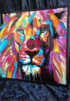 Купить Радужный лев - комбинированный, лев, радужный, животные, кошка, животные африки, панно