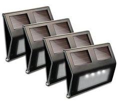"Solar Power 5 3/4""W Bronze Step or Deck Lights Set of 4"
