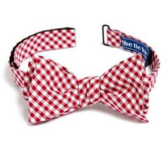 Men's The Tie Bar Gingham Cotton Bow Tie ($19) ❤ liked on Polyvore featuring men's fashion, men's accessories, men's neckwear, bow ties, sebastian strongworth, red, mens red bow tie and mens bow ties