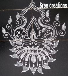 Lotus Rangoli, Kolam Rangoli, Diwali Drawing, Beautiful Rangoli Designs, Drawings, Art, Art Background, Kunst, Sketches