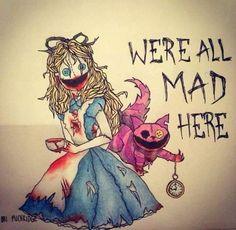 alice in wonderland - would make a great tattoo! Pretty creepy ,but still cool. Alice Liddell, Alice Tim Burton, Tim Burton Art, Creepy Drawings, Creepy Art, Arte Horror, Horror Art, Princesas Disney Zombie, Desenhos Tim Burton