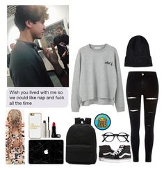 """""""I just want to dig my way out of the ocean"""" by jillafred ❤ liked on Polyvore featuring MANGO, River Island, Vans, BaubleBar, Goblinko Megamall, Ilia, 5sos, calumhood and 5secondsofsummer"""