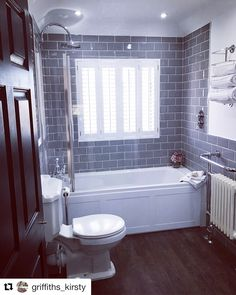 Nothing like a clean bathroom 🛁 The best thing we did in the bathroom was put the controls on the right so you don't get soaked turning on… Victoria Plum, Save From Instagram, Grey Tiles, Bathroom Cleaning, Bathroom Styling, Corner Bathtub, New Homes, Good Things, Bathrooms