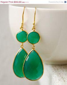 WINTER SALE Elegant Green Onyx Earrings  Emerald Green  by OhKuol, $80.75