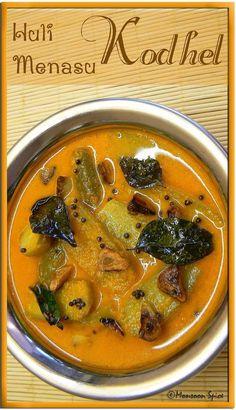 Cooking with Love: Huli-Menasina Kodhel Curry Recipes, Salad Recipes, Vegan Recipes, Cooking Recipes, Veg Recipes Of India, Indian Food Recipes, Ethnic Recipes, Indian Foods, Vegetarian Food List