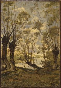Henri-Joseph Harpignies (French, 1819-1916) Willows on the Banks of the Loire…