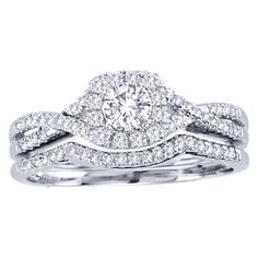 @Overstock.com - De Couer  10k White Gold 3/4ct TDW Diamond Halo Bridal Ring Set (H-I, I2) - Diamond bridal ring set10-karat white gold jewelryClick here for ring sizing guide  http://www.overstock.com/Jewelry-Watches/De-Couer-10k-White-Gold-3-4ct-TDW-Diamond-Halo-Bridal-Ring-Set-H-I-I2/7583019/product.html?CID=214117 $769.99