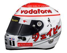 "Jenson Button Racing Helmet - F1 2011 Japanese GP ""Support Japan"" (due to the earthquake/Tsunami/nuke tragedy)"