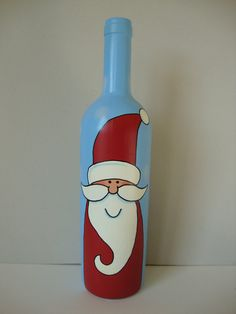 Santa Wine Bottle by ThimbleberryCreation on Etsy Wine Bottle Art, Painted Wine Bottles, Diy Bottle, Painted Wine Glasses, Wine Bottle Crafts, Jar Crafts, Painting On Glass Windows, Christmas Wine Bottles, Bottle Painting