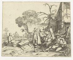 Pieter de Molijn | Landschap met soldaten, Pieter de Molijn, 1626 | In een landelijke omgeving staan en zitten soldaten bij een huis of herberg te praten. Op de achtergrond een zittende vrouw en een ruiter bij een (tweede) herberg. Deze prent is onderdeel van een serie van vier prenten van landschappen met figuren.