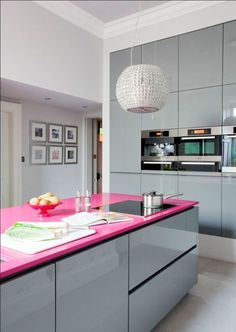 Hot Pink Countertop Using Modern Grey Laminate Cabinet Using Excellent Round Pendant For Elegant Kitchen Ideas