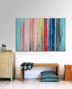 Grand Schilderij abstraite  rayé couleurs  par RonaldHunter sur Etsy, $379.00