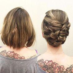 Cheveux courts dans un updo - short hair do's - Cheveux Short Hair Updo, Short Hair Cuts, Pixie Cuts, Short Pixie, Wedding Hair And Makeup, Bridal Hair, Short Wedding Hair Updo, Bridal Makeup, Bride Hairstyles