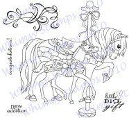 Too many ribbons. Tiny horse. Motion. Carousel.