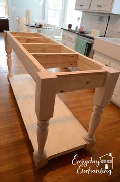 DIY Kitchen Island | Everyday EnchantingFor assembling the island, we really recommend the Ana White plans, but here is a quick tip: to make sure the apron is completely centered on the legs, cut spacers and clamp everything together. That way it won't shift as you add the screws!