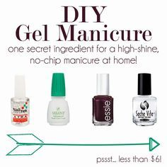 DIY Gel Manicure (http://www.mintarrow.com/2013/08/shellac-hack-perfected.html for the instructions)  1 coat hard as wraps (or another website say you can skip this) 1 coat gelous 1 coat polish 1 coat gelous  1 coat polish 1 coat top coat (seche vite dry fast)