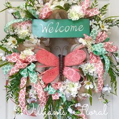 Pastel Mint and Coral Spring or Summer Burlap Mesh Wreath by WilliamsFloral on Etsy https://www.etsy.com/listing/227556351/pastel-mint-and-coral-spring-or-summer