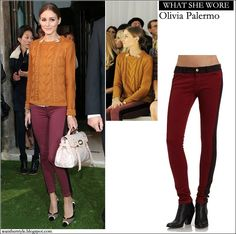WHAT SHE WORE: Olivia Palermo in brown knit sweater and crimson tuxedo pants with contrast trim ~ I want her style - What celebrities wore a...