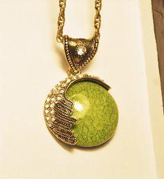 Olive Green Cracked Medal Pendant Necklace