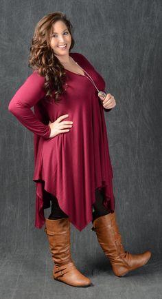 Burgundy V-Neck Tunic Dress