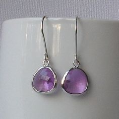 Lilac Crystal Earrings Light Lavender Crystal by PeriniDesigns, $19.00