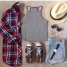 striped halter top, red and blue flannel, dark blue converse, high waisted light wash denim shorts, black watch, sunglasses, tan hat, rings
