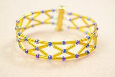 How to Make a Diamond Bugle Bead bracelet with Royalblue seed beads