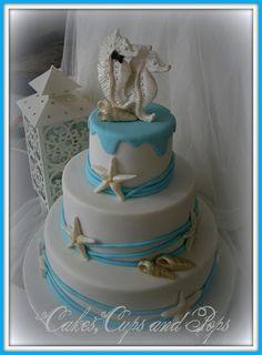 happily married cake | Seahorse Wedding Cake 100% edible.