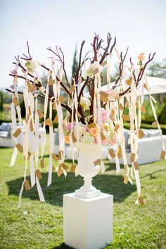 Tree # ribbons# escort cards