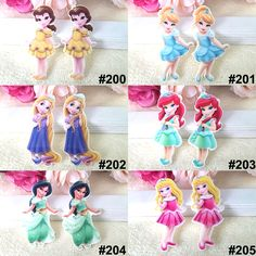 60pcs Mixed Cartoon Beauty Princess Flatback Resin Varied Cute Girls Resin Cabochon DIY Craft For Home Decoration Accessories
