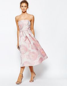 Image 4 ofTrue Decadence Bandeau Full Prom Midi Dress In Floral Jacquard