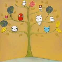 owls in tree painted in the corner of a kids room. Maybe even a kitchen! I could so do this.