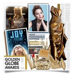 """""""Golden Girl: Jennifer Lawrence as Joy"""" by sinesnsingularities ❤ liked on Polyvore featuring Gemma Simone, Burberry, Dolce&Gabbana, Jimmy Choo, House of Harlow 1960, Ciaté, Christian Dior, Guerlain, GoldenGlobes and jenniferlawrence"""