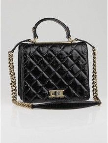 Chanel Black Glazed Quilted Calfskin Leather Rita Flap Bag