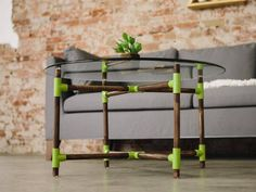 HGTV host Dan Faires shows how to make a stylish coffee table using PVC fittings and wood dowels. Pvc Furniture, Reclaimed Wood Furniture, Rustic Furniture, Furniture Making, Modern Furniture, Stylish Coffee Table, Diy Sofa Table, Pvc Pipe Projects, Pipe Table