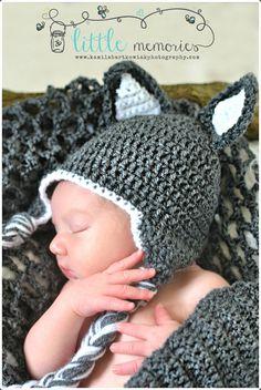 perfect for frances wolf.    Crochet Wolf Beanie/ Hat Newborn Baby, via Etsy.
